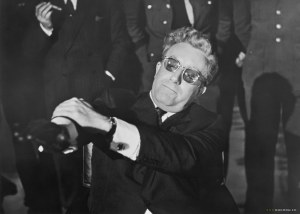 Dr.Strangelove fighting with his own arm to keep from giving the president the Nazi salute